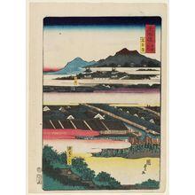 二代歌川国貞: Nagoya, from the series Scenes of Famous Places along the Tôkaidô Road (Tôkaidô meisho fûkei), also known as the Processional Tôkaidô (Gyôretsu Tôkaidô), here called Tôkaidô meisho no uchi - ボストン美術館