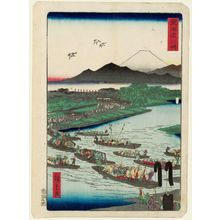 Utagawa Hiroshige II: Kawasaki, from the series Scenes of Famous Places along the Tôkaidô Road (Tôkaidô meisho fûkei), also known as the Processional Tôkaidô (Gyôretsu Tôkaidô), here called Tôkaidô - Museum of Fine Arts