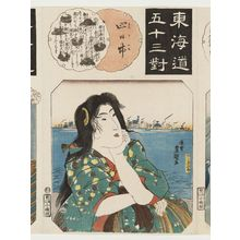 Utagawa Kunisada: Yokkaichi: Mirage of the Clam's Palace at Nako-no-umi (Nako-no-umi kaiyagura), from the series Fifty-three Pairings for the Tôkaidô Road (Tôkaidô gojûsan tsui) - Museum of Fine Arts