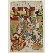 鳥居清長: Actors Sawamura Sôjûrô III as Nuregami Chôgorô, Ichikawa Monnosuke II as Hanaregoma Chôkichi, Segawa Kinunojô III as Azuma, Ichikawa Yaozô III as Yamazaki Yogorô; with chanters Tokiwazu Kanedayû and Tokiwazu Namidayû, and accompanist Kishizawa Koshikibu - ボストン美術館