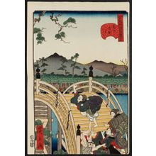 歌川広景: No. 25, Drum Bridge at Kameido (Kameido taikobashi), from the series Comical Views of Famous Places in Edo (Edo meisho dôke zukushi) - ボストン美術館