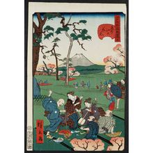 歌川広景: No. 5, Cherry-blossom Viewing at Asuka Hill (Asuka-yama no hanami), from the series Comical Views of Famous Places in Edo (Edo meisho dôke zukushi) - ボストン美術館