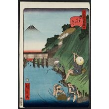 歌川広景: No. 4, Fishermen at Ochanomizu (Ochanomizu no tsuribito), from the series Comical Views of Famous Places in Edo (Edo meisho dôke zukushi) - ボストン美術館