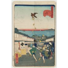 歌川広景: No. 27, Meshikura Street in Shiba (Shiba Meshikura-tôri), from the series Comical Views of Famous Places in Edo (Edo meisho dôke zukushi) - ボストン美術館