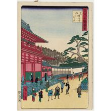 Utagawa Hiroshige III: Opening of the Sanmon Gate at Zôjô-ji Temple in Shiba (Shiba Zôjô-ji sanmon-biraki), from the series Famous Places in Tokyo (Tôkyô meisho zue) - Museum of Fine Arts