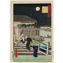 三代目歌川広重: Night View of Yanagibashi (Yanagibashi no yakei), from the series Famous Places in Tokyo (Tôkyô meisho zue) - ボストン美術館