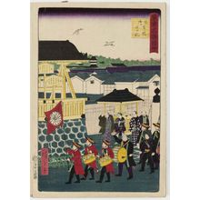 Utagawa Hiroshige III: Official Notice Board at Nihonbashi Bridge (Nihonbashi gokôsatsu), from the series Famous Places in Tokyo (Tôkyô meisho zue) - Museum of Fine Arts