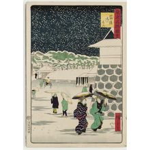 三代目歌川広重: Palace Gate at Sujikai (Sujikai gomon), from the series Famous Places in Tokyo (Tôkyô meisho zue) - ボストン美術館