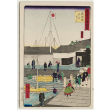 三代目歌川広重: Akashi Bridge at Teppôzu (Teppôzu Akashi-bashi), from the series Famous Places in Tokyo (Tôkyô meisho zue) - ボストン美術館