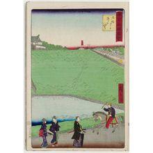 三代目歌川広重: Ushigafuchi at Kudanzaka Slope (Kudanzaka Ushigafuchi), from the series Famous Places in Tokyo (Tôkyô meisho zue) - ボストン美術館