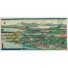 Utagawa Hiroshige II: Lord Minamoto Yoritomo Goes to Kyoto in 1195 (Kenkyû rokunen Minamoto Yoritomo kyô jôkyô no zu) - Museum of Fine Arts