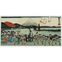 Utagawa Yoshitora: The Forces of Ashikaga Yorimitsu Returning Home (Ashikaga Yoshimitsu kijin no zu) - Museum of Fine Arts