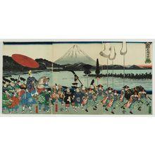 歌川芳虎: The Forces of Ashikaga Yorimitsu Returning Home (Ashikaga Yoshimitsu kijin no zu) - ボストン美術館