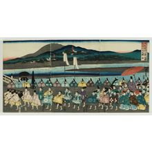 歌川芳虎: The Procession of Lord Ashikaga Yoshimasa on an Excursion to Higashiyama (Ashikaga Yoshimasa kô Higashiyama yûran on-gyôretsu no zu) - ボストン美術館