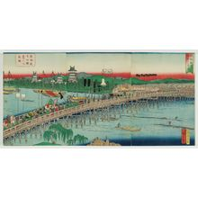 Utagawa Hiroshige II: Lord Minamoto Yoritomo Returns from Kyoto (Minamoto Yoritomo kô Kyôto yori gekô no zu, R); The Long Bridge over the Toykawa River at Yoshida Station on the Tokaido Road (Tôkaidô Yoshida eki Toyokawa no nagahashi, L) - Museum of Fine Arts