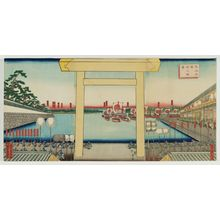 Utagawa Sadahide: View of Miya Station on the Tôkaidô (Tôkaidô Miya shuku no shôkei) - Museum of Fine Arts