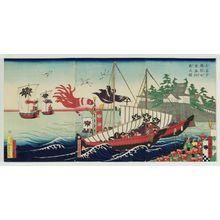 Utagawa Yoshimori: The Entourage of of Lord Yoritomo, Minister of the Right, Crossing the Sea (Ubakuka Yoritomo kô tokai gyôsô no zu) - ボストン美術館