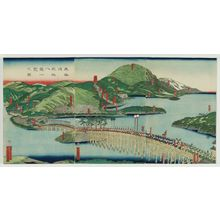Utagawa Sadahide: Panoramic View of the Eight Views of Ômi on the Tôkaidô Road (Tôkaidô Ômi hakkei ichiran no zu) - Museum of Fine Arts