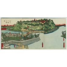 Utagawa Sadahide: Scenery of the Yodo River and the Mountain of the Hachiman Shrine (Yodogawa Hachiman-yama shôkei) - Museum of Fine Arts