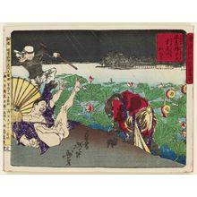 Tsukioka Yoshitoshi: At Shinobazu Benten Shrine, the Thunder God Falls into the Lotus Pond (Shinobazu Benten Kaminari hasuike e ochiru), from the series Famous Places and Humorous Images of Modern Life in Tokyo (Tôkyô kaika kyôga meisho) - Museum of Fine Arts