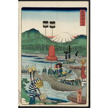 Utagawa Hiroshige II: Kanbara, from the series Scenes of Famous Places along the Tôkaidô Road (Tôkaidô meisho fûkei), also known as the Processional Tôkaidô (Gyôretsu Tôkaidô), here called Tôkaidô - Museum of Fine Arts