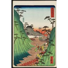 Utagawa Yoshimori: Okabe, from the series Scenes of Famous Places along the Tôkaidô Road (Tôkaidô meisho fûkei), also known as the Processional Tôkaidô (Gyôretsu Tôkaidô), here called Tôkaidô no uchi - Museum of Fine Arts