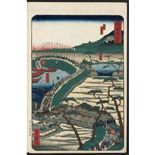 Utagawa Yoshimori: Saya, from the series Scenes of Famous Places along the Tôkaidô Road (Tôkaidô meisho fûkei), also known as the Processional Tôkaidô (Gyôretsu Tôkaidô), here called Tôkaidô - ボストン美術館