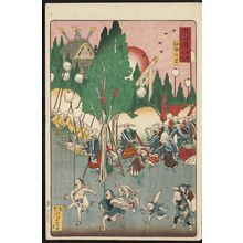 Kawanabe Kyosai: The Outer Shrine at Ise (Ise Gekû), from the series Scenes of Famous Places along the Tôkaidô Road (Tôkaidô meisho fûkei), also known as the Processional Tôkaidô (Gyôretsu Tôkaidô), here called Tôkaidô meisho no uchi - Museum of Fine Arts