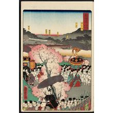 Utagawa Kunisada II: The Kamo Shrine in Kyoto (Kyô Kamo), from the series Scenes of Famous Places along the Tôkaidô Road (Tôkaidô meisho fûkei), also known as the Processional Tôkaidô (Gyôretsu Tôkaidô), here called Tôkaidô meisho no uchi - Museum of Fine Arts