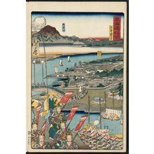 河鍋暁斎: Tsukishimadera Temple in Hyôgo (Hyôgo Tsukishimadera), from the series Scenes of Famous Places along the Tôkaidô Road (Tôkaidô meisho fûkei), also known as the Processional Tôkaidô (Gyôretsu Tôkaidô), here called Tôkaidô meisho no uchi - ボストン美術館