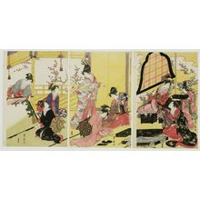 Utagawa Toyohiro: Women Making an Oshi-e Picture - Museum of Fine Arts