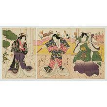 芦幸: Actors Ichikawa Ebijûrô I as Mashiba Hisatsugu (R), Nakamura Utaemon III as Ishida no Tsubone (C), and Nakayama Yoshio I as Yodomachi Gozen (L) - ボストン美術館