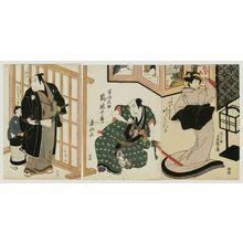 Totoya Hokkei: Actors Kano Minko as Jûemon's Wife (Nyôbô) Omume (R), Arashi Kanjûrô as Majima Daisuke (C), and Arashi Kichisaburô as Takaseya Jûemon (L) - Museum of Fine Arts