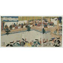 Utagawa Sadahide: A Sarugaku Performance for Lord Higashiyama (Higashiyama dono sarugaku kôgyô no zu) - Museum of Fine Arts