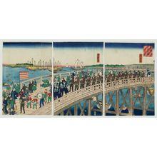 Utagawa Yoshitora: View of the Eitai Bridge in the Eastern Capital (Tôto Eitai-bashi fûkei no zu) - Museum of Fine Arts