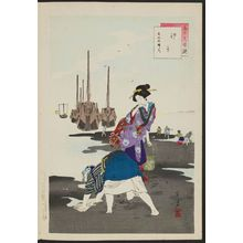 Mizuno Toshikata: Low Tide: Women of the Bunka Era [1804-18] (Shiohi, Bunka koro fujin), from the series Thirty-six Elegant Selections (Sanjûroku kasen) - Museum of Fine Arts