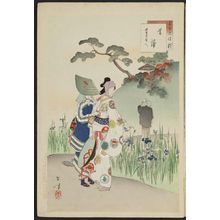 Mizuno Toshikata: Iris: Women of the ... Era (Kakitsubata, ... koro fujin), from the series Thirty-six Elegant Selections (Sanjûroku kasen) - Museum of Fine Arts