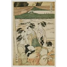 長喜: Enjoying Cool Air on a Pleasure Boat, a Pentaptych (Suzumibune gomai tsuzuki) - ボストン美術館