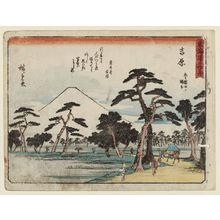 Utagawa Hiroshige: Yoshiwara: Fuji on the Left at Nawate (Yoshiwara, hidari Fuji no Nawate), from the series Fifty-three Stations of the Tôkaidô Road (Tôkaidô gojûsan tsugi), also known as the Kyôka Tôkaidô - Museum of Fine Arts