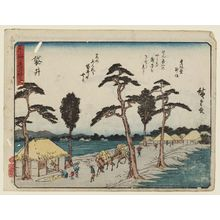 Utagawa Hiroshige: Fukuroi, from the series Fifty-three Stations of the Tôkaidô Road (Tôkaidô gojûsan tsugi), also known as the Kyôka Tôkaidô - Museum of Fine Arts
