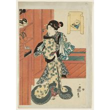 Utagawa Yoshitora: Woman standing by shoe rack - Museum of Fine Arts