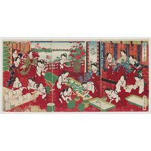 Utagawa Kuniaki: Raising Silk Worms for a Thousand Ages of Prosperity (Chiyo no sakae kaiko no yashinai) - Museum of Fine Arts