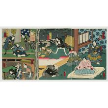 Utagawa Kunisada: Acts IV, V, and VI, from the series Twelve Continuous Acts of The Storehouse of Loyal Retainers, a Primer (Kanadehon Chûshingura jûnidan tsuzuki) - Museum of Fine Arts