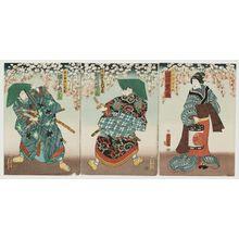 Utagawa Yoshitora: Actors Iwai Shijaku (R), Kawarazaki Gonjûrô (C), and Bandô Hikosaburô (L) - Museum of Fine Arts