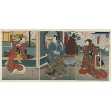 Utagawa Kunikazu: Actors Nakayama Nanshi II as Saigyo's daughter Utsushie (R), Jitsukawa Enzaburô I as Minamoto no Yoriie (C), and Arashi San'emon IX as the courtesan Mojitsuru (L), in the play Chôja Tsuribune - Museum of Fine Arts