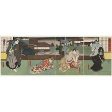 Utagawa Hirosada: Actors, from right: Jitsukawa Enzaburô I as Nagoya Sanza, Nakamura Utaemon IV as Fuwa Banzaemon, Nakayama Nanshi II as Katsuragi, and Mimasu Daigorô IV as Sasaki Kurando, in Act 9 of Inazuma Sôshi - Museum of Fine Arts