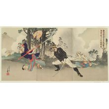 Migita Toshihide: Captain Awata Fights Furiously with His Celebrated Sword in the Assault on Magongcheng in the Pescadores (Awata Taii Hôkôtô Bakôjô kôgeki no sai Yûjô no meitô o motte ôini funtô suru zu) - Museum of Fine Arts