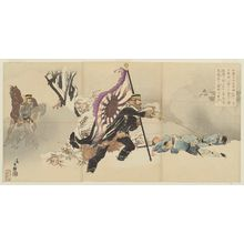Migita Toshihide: Colonel Satô Attacking the Fortress at Niuzhuang, As He Braved a Hail of Enemy Fire, Dashing Forward with the Flag as His Support and Capturing the Fort - Museum of Fine Arts