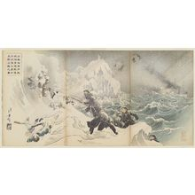 Mizuno Toshikata: Seven Brave Marines, an Advance Guard of Our Navy, Land on the Shore near Weihaiwei (Ikaiei fukin ni oite waga kaigun rikusentai kesshitai shichi-yûshi senpô jôriku no zu) - Museum of Fine Arts