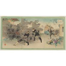 安達吟光: Having Destroyed Magongcheng with Their Own Hands, the Enemy Soldiers Flee. Our Army's Great Victory (Tekihei mizukara Bakôjô o bakuhatsu shite tonsô su waga gun daishôri) - ボストン美術館